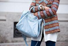 #StreetStyle: Balenciaga Classic Velo bag in blue