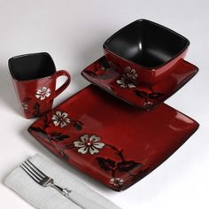 Red and black square dinnerware red decor pinterest - Black and red dinnerware sets ...