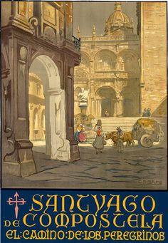 TT67 Vintage Santiago De Compostela Spain Spanish Travel Poster A3/A2 Re-print in Art, Posters, Modern (1900-1979)   eBay