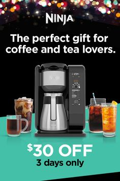 The Ninja Hot & Cold Brewed System™ with Thermal Carafe offers a vast array of coffee making & tea infusing options, including cold brew within 10 minutes. Best Coffee Maker, Drip Coffee Maker, Tea Drinks, Cold Brew, Carafe, Coffee Beans, Drinking Tea, Countertop, Ninja
