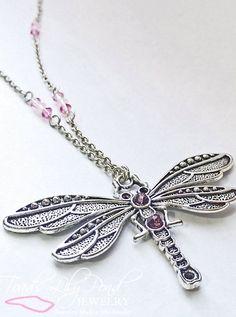 Handmade pink dragonfly necklace by ToadsLilyPondJewelry on Etsy, $84.00