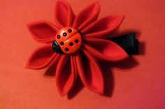 Kanzashi Flower Hair Clip Red Fabric with Lady Bug by harmony5, $9.50