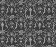 Rococo and a Bottle of Rum ( ghostly version) fabric by ceanirminger on Spoonflower - custom fabric Unusual Wallpaper, Wall Wallpaper, Fabric Wallpaper, An Awesome Wave, Gothic Bathroom, Halloween Patterns, Deco Furniture, Skull Art, Wall Collage