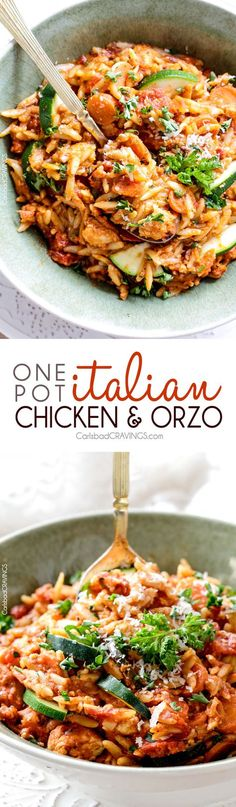 ONE POT Italian Chicken and Orzo (and veggies!) in a creamy Parmesan tomato sauce on your table in almost 30 minutes and all made in one pot!