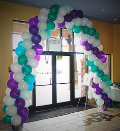 Helium Filled Spiral Balloon Arch Color Scheme, Regal Purple, Bright White and Deep Turqouise.
