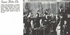 The Paul Pendarvis orchestra performed for students at the annual Journalism Jamboree dance in Mac Court in 1937.  From the 1937 Oregana (University of Oregon yearbook).  www.CampusAttic.com