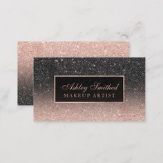 Shop Modern black rose gold glitter chic ombre makeup business card created by girly_trend. Personalize it with photos & text or purchase as is! Rose Gold Glitter, Black Glitter, Glitter Uggs, Glitter Flats, Glitter Nails, Black Gold, Black White, Elegant Business Cards, Business Card Design
