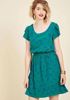 Oh My Gosh A-Line Dress in Pine Dinos