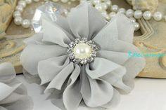 Large Grey Flower Headpiece Flatback Flowergirl Millinery Flower Headband Flower Wedding Flower Bow Fabric Flowers DIY Supplies