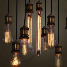 PureLumeTM Vintage Alt-Messing Schmucklampe Pendeleuchte Hängelampe mit Edison Nostalgie 40W Glühbirne: Amazon.de: Beleuchtung