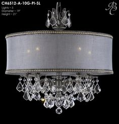 Dining Room Chandelier - Crystal Chandelier with awesome shade - 24dia 22h - Antique Silver finish