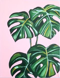 Cute Canvas Paintings, Small Canvas Art, Mini Canvas Art, Plant Painting, Plant Art, Painting & Drawing, Painting Leaves Acrylic, Acrylic Canvas, Painting Lessons