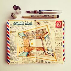 Handmade Sketchbooks Teeming with Colorful Calligraphy, Diagrams, Sketches, and Travel Ephemera by José Naranja (Colossal) Voyage Sketchbook, Travel Sketchbook, Art Sketchbook, Fashion Sketchbook, Sketch Journal, Journal Pages, Kunstjournal Inspiration, Colossal Art, Handmade Notebook