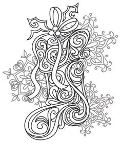 Craft a glamorous Christmas with this beautiful, swirling stocking design! Downloads as a PDF. Use pattern transfer paper to trace design for hand-stitching.