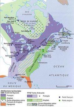 La Nouvelle-France, telle que découpée par les traités de Ryswick (1697) et Utrech (1713). Le démembrement de l'empire français en Amérique était commencé.
