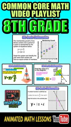 Need some help with 8th grade common core math? Check out our 8th grade math video lesson playlist on YouTube. For more common core math lessons, check out MashUp Math on YoutTube and be sure to subscribe--we add new lessons every week! (scheduled via http://www.tailwindapp.com?utm_source=pinterest&utm_medium=twpin&utm_content=post24005802&utm_campaign=scheduler_attribution)