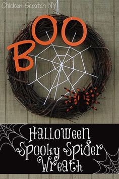 Be the talk of Halloween-Town with a spooky spider web wreath! The hardest part is waiting for the paint to dry. Turn an old grapevine wreath into your very own Halloween Door Decoration with this tutorial Diy Halloween Spider Web, Halloween Projects, Holidays Halloween, Spooky Halloween, Vintage Halloween, Homemade Halloween, Happy Halloween, Halloween Inspo, Halloween