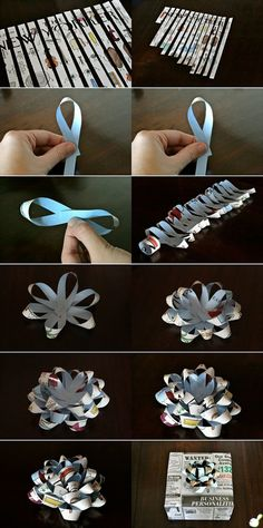 How to make gift bows (cute!) Great for my origami loving son Holiday Crafts, Fun Crafts, Diy And Crafts, Arts And Crafts, Craft Gifts, Diy Gifts, Diy Y Manualidades, Gift Bows, Gift Ribbon