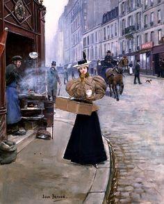 Béraud, Jean (b,1849)- Woman Eating Roaster Chestnuts, Paris