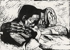 Käthe Kollwitz, 1919, woodcut An amazing artist who captured the pain, struggles, and beauty of history's forgotten people. With black and white drawings, woodcuts, and sculpture—and with an amazing reservoir of respect and compassion—Kollwitz gave to the ages unforgettable images of dignity amidst poverty and despair, resolve in the face of crushing injustice, and the occasional joy of human celebrations and solidarity.