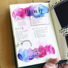 If you have never used watercolours in your bullet journal I would recommend trying it out. Bullet journal watercolouring is easy and fun. Creating A Bullet Journal, Bullet Journal Notes, Bullet Journal Junkies, Bullet Journal Ideas Pages, Bullet Journal Layout, Bullet Journal Inspiration, Bullet Journal Spread, Journal Pages, Bullet Journal Watercolour