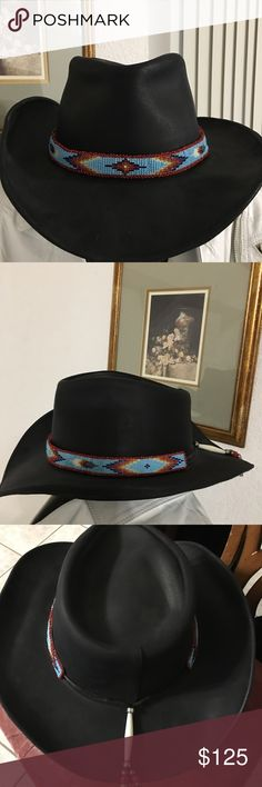 Navajo styled black western hat purchased at NM Purchased in Santa Fe New Mexico boutique Navajo design embellished hat. Use 3 times but it will be professionally clean before shipping. HH Accessories Hats