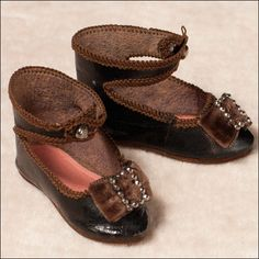 Antique French Leather DOLL Shoes