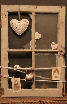 Old window with some nice things and you have a unique piece for the wall or the…