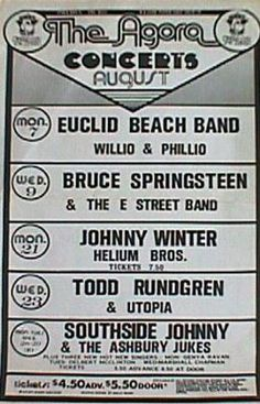 The Euclid Beach Band, Bruce Springsteen & The E Street Band, Johnny Winters, Todd Rundgren & Utopia, and Southside Johnny & The Ashbury Jukes Cleveland Rocks, Cleveland Ohio, Cleveland Concerts, Cleveland Indians, Pittsburgh, Rock Posters, Band Posters, Willoughby Ohio, Youngstown Ohio
