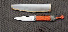 Couteau Neptunia : poignard marin Gréément Courant tressage orange et gris