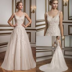 >> Click to Buy << 2017 V-Neck A-line Wedding Dresses Plus Size Beaded Crystals Button Back Appliques Bridal Gowns with Chapel Train #Affiliate