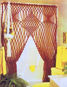 Vintage Macrame PDF Pattern Hanging Swag Curtain Home Decor Completed Length 5 Feet By 8 Reproduction Instant Download