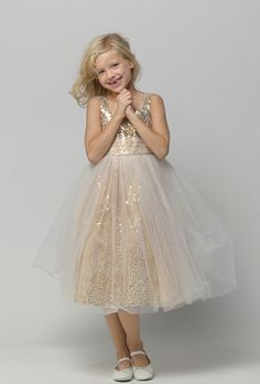 Awesome gold sequin flower girl or junior bridesmaid dress; do they have this in my size?