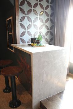 DIY waterfall edge concrete marble look countertops with Ardex Feather Finish in gray and white