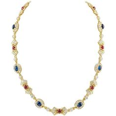 Ruby Sapphire and Diamond Gold Necklace ($42,000) ❤ liked on Polyvore featuring jewelry and necklaces