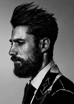 Attractive bearded men wearing suits