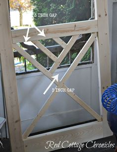 """A nice screen door really adds to curb appeal. This """"Chippendale"""" wood screen door tutorial can help you build your own for a fraction of the cost of new! Wood Screen Door, Wooden Screen, Wood Doors, Screen Doors, Diy Garage Door, Diy Door, Wood Planter Box, Wood Planters, Door Makeover"""