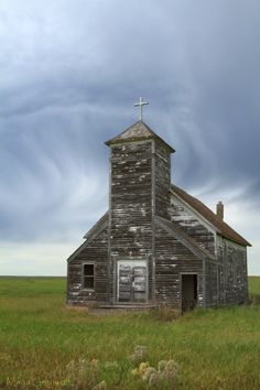 Abandoned church in the ghost town of Arena, North Dakota