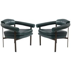 Bronze and Leather Lounge Chairs by Metropolitan | From a unique collection of…