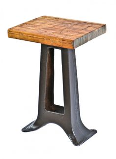 repurposed antique american industrial stationary side table with brushed metal machine base and newly added solid maple wood butcher block top - Products