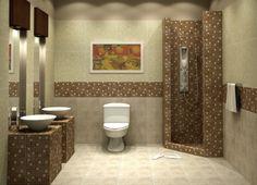 une mosaïque élégante en beige et marron clair dans la salle de bains