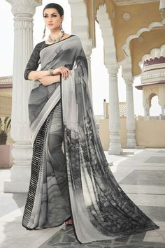 Digital Print Georgette Casual Saree
