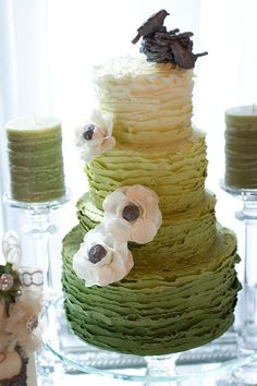 Green and White wedding cake by @Adam M Viator Toronto