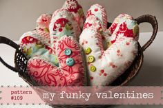 Funky Fabric Hearts - free pattern