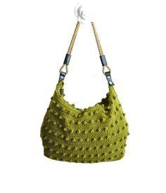 Green handbag with handles and zip -shoulder bag-crochet bag-hand made Christmas Gifts