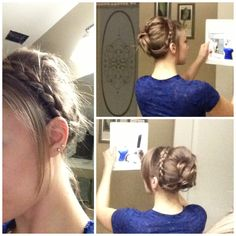 Easy and cute braided up-do. Love it! Great for medium length to long hair.