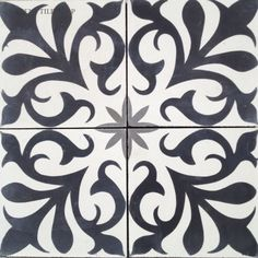 Handmade Nantes Design cement tile by Original Mission Tile - all cement tiles can be customized to create your own tile according to your project's specs and tile colors Eclectic Tile, Eclectic Bathroom, Black Tiles, White Tiles, Floor Patterns, Tile Patterns, Stencil Patterns, Wall Tiles, Cement Tiles
