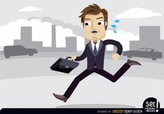 Businessman running with briefcase Free Vector