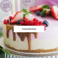 Synttärihuumaa: No bake Kinuski-Punaherukkakakku Sweet Pastries, Yummy Cakes, Oreo, Cheesecake, Food And Drink, Baking, Desserts, Sweets, Tailgate Desserts