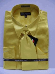 f1105bb53ea Men s New Gold Satin Dress Shirt Tie Combo Shirts  59 Gold Dress Shirt